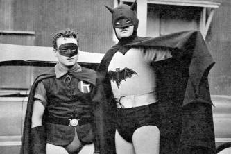 Batman and Robin (1949) - Lewis Wilson was replaced by Robert Lowery for the second movie serial, with Johnny Duncan joining him as the Boy Wonder. The suit isn't much better this time, however, with the cowl in particular being hilariously too big for Lowery's head.