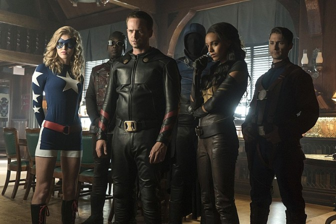 Left to right: Stargirl, Dr Mid-Nite, Hourman, Obsidian, Vixen and Commander Steel