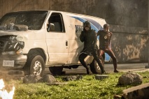 """The Flash -- """"Invasion!"""" -- Image FLA308c_0293b.jpg -- Pictured (L-R): Stephen Amell as Green Arrow and Grant Gustin as The Flash -- Photo: Dean Buscher/The CW -- © 2016 The CW Network, LLC. All rights reserved."""