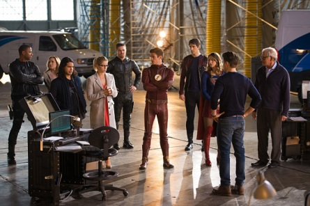 """DC's Legends of Tomorrow --""""Invasion!""""-- Image LGN207c_0156.jpg -- Pictured (L-R): David Ramsey as John Diggle, Caity Lotz as Sara Lance/White Canary, Carlos Valdes as Cisco Ramon, Emily Bett Rickards as Felicity Smoak, Stephen Amell as Oliver Queen, Grant Gustin as Barry Allen, Brandon Routh as Ray Palmer/Atom, Melissa Benoist as Kara/Supergirl, Nick Zano as Nate Heywood and Victor Garber as Professor Martin Stein -- Photo: Diyah Pera/The CW -- © 2016 The CW Network, LLC. All Rights Reserved."""