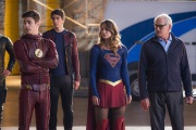 "DC's Legends of Tomorrow --""Invasion""-- Image LGN207c_0293.jpg -- Pictured (L-R): Grant Gustin as Barry Allen, Brandon Routh as Ray Palmer/Atom, Melissa Benoist as Kara/Supergirl and Victor Garber as Professor Martin Stein -- Photo: Diyah Pera/The CW -- © 2016 The CW Network, LLC. All Rights Reserved"